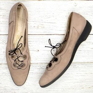 Vintage Suede Lace Up Flats by Salvatore Ferragamo